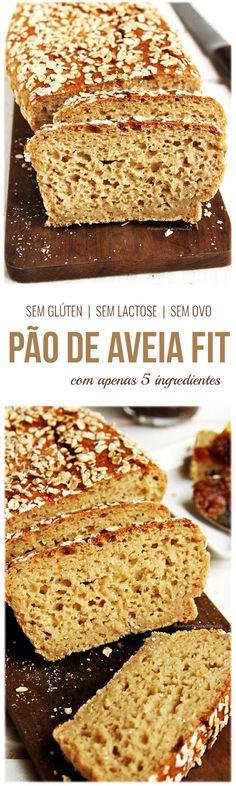 Receita de Pão de Aveia Fit com apenas 5 ingredientes sem glúten e sem lactose muito saboroso e flexível!