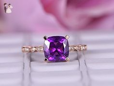 Cushion Amethyst Engagement Ring Pave Diamond Wedding 14k Rose Gold 8mm - Wedding and engagement rings (*Amazon Partner-Link)