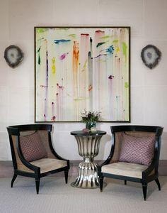 Love the mix of natural agate, colorful modern art, and graphic furniture. Design by Lauren Stern, Art by Nicole Cohen Interior Design Business, Art For Art Sake, Elle Decor, Home Decor Inspiration, Painting Inspiration, Design Inspiration, Decoration, Diy Art, Modern Art