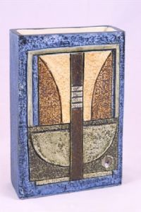 Slab vase decorated by Louise Jinks