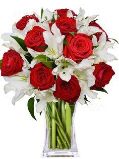 DARCIA (RŮŽE, LILIE a MÍCHANÉ) | FLORA - ONLINE Glass Vase, Flora, Table Decorations, Home Decor, Lilies, Decoration Home, Room Decor, Plants, Home Interior Design