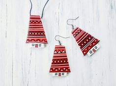 HandPainted Clay Jewelleries Clay Jewelry, Handmade Jewelry, Hand Painted, Drop Earrings, Christmas Ornaments, Abstract, Holiday Decor, Home Decor, Summary