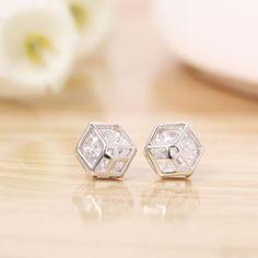 adtl hearts arrows cut geometric charm hexagonal stud earrings 925 sterling silver earrings engagement fine