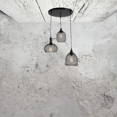 E2 Contract Lighting | Products | Mesh 3 Light Cluster Pendant CL-32502 | Mesh 3 Light Cluster Pendant, a industrial mesh ceiling cluster pendant.