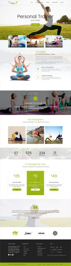 FitGuru is clean and modern #design PSD template for gym, #fitness, spa, yoga and #trainers website with 8 homepage layouts and 26 layered PSD pages download now..