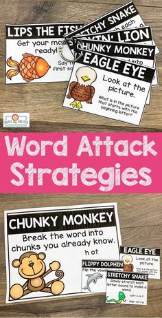 Word Attack Strategies Posters, Cards, and Bookmarks 2nd Grade Classroom, Kindergarten Classroom, Guided Reading, Teaching Reading, Picture Letters, Kindergarten Lessons, Early Readers, Different Words, Small Cards