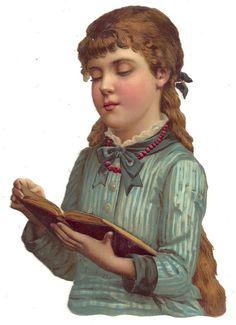 Victorian era Die Cut   Girl reading book.