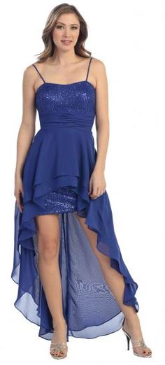 Royal Blue Sequins Hi-Low Prom Dress (3-colors XS to 3XL)