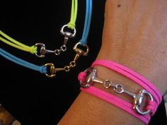 Equestrian Horse Snaffle Bit Triple Wrap Bracelet, Anklet, Necklace, Faux Suede #SnaffleJewlerycom #Equestrian