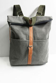 Gray canvas Backpack/Rucksack/travel bag/School by litacraft