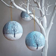 hand painted scene bauble by The Lady Moth - handmade Christmas decoration - winter scene ornament - UK Christmas Pebble Art, Christmas Rock, Christmas Scenes, Christmas Makes, Christmas Ideas, Christmas Crafts, Ceramic Christmas Decorations, Scandinavian Christmas Decorations, Christmas Baubles