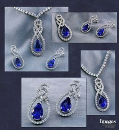 Spectacular and richly saturated tanzanite and diamond suite in 14k white gold. The necklace contains a pear-shaped tanzanite that is just over 5 carats within a pavé-set diamond surround of ideal brilliant-cuts, matching a pair of pair-shaped 3.31 carat total tanzanite and diamond earrings.- Images Jewelers Custom Earrings, Custom Jewelry Design, Pear Shaped, Sterling Silver Pendants, Diamond Earrings, December, Jewelry Making, White Gold, Jewels