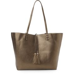 Imoshion Bronze & Gold Reversible Bag-In-Bag Tote ($35) ❤ liked on Polyvore featuring bags, handbags, tote bags, metallic, gold tote bag, gold handbag, brown handbags, reversible tote bag and brown purse
