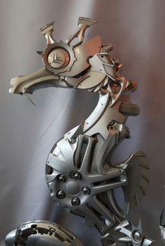 Seahorse (detail) commission - Hubcap Creatures