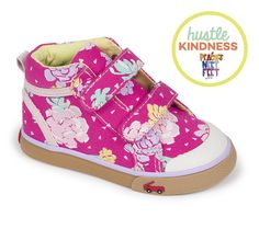 Our Latest Hustle Kindness Shoes! | See Kai Run & Smaller | Roxy Hot-pink floral chambray high top sneakers.