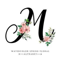 Alphabet Letters Design, Diy Letters, M Letter Design, Letter Art, Watercolor Lettering, Watercolor Flowers, Letter C Tattoo, Lettering Design, Hand Lettering