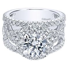 18K White Gold Vintage Trellis Stack Diamond Engagement Ring
