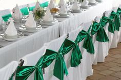 Emerald green bows