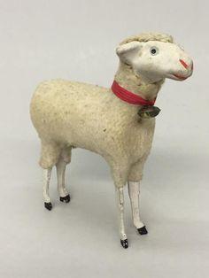 "Vintage German Putz Scene Stick Leg Composition Face 5"" Wooly Sheep w/Bell"