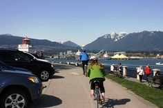 This is a complete guide to the flat, family-friendly Stanley Park Seawall Bike Trail – which is one of the most beautiful bike trails in the world - Vancouver Cycling – Stanley Park Seawall – Guide plus Video Vancouver Bc Canada, Stanley Park, Trail Guide, Bike Trails, Sunshine Coast, Travel Couple, British Columbia, Cycling, City