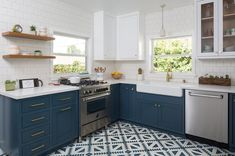 Kitchen Remodeling Trends 25 Best Kitchen Design Trends Worth Trying in 2018 - The latest kitchen design trends are all about personalizing your space with unique accents in an exciting range of colors, textures, and materials. Kitchen Tiles, Kitchen Flooring, Kitchen And Bath, Kitchen Decor, Kitchen Cabinets, Blue Cabinets, Shaker Cabinets, Island Kitchen, Upper Cabinets