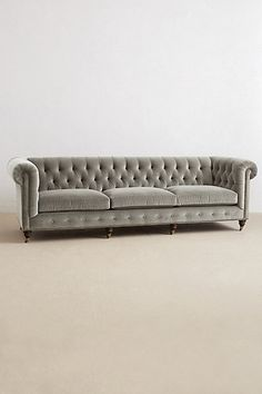 Velvet Grand Lyre Chesterfield Sofa - anthropologie.com