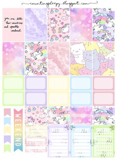 Free Printable Unicorn Paradise Planner Stickers from Counting Sheepy