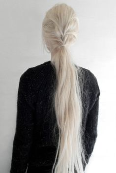 """novemberkind: """" today, slightly tousled half braided ponytail """"- - Weißes Haar Hair Inspo, Hair Inspiration, Pelo Color Plata, Beauté Blonde, Hair Reference, Braided Ponytail, Aging Gracefully, Mode Outfits, Hair Goals"""