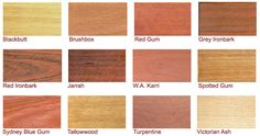 different aus timbers