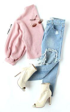 Pink Ribbed Lantern Sleeve Sweater