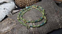 Wickelarmband aus Peridot, Smaragd, Calcit und Sterlingsilber 925