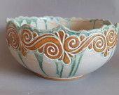 Blue Medium Hand Carved Bowl