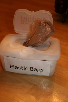 DIY: Reusing Baby Wipes Containers to Store Plastic Bags