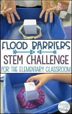 STEM Challenge- Build a flood barrier to protect a little house! Test with water… STEM Challenge- Build a flood barrier to protect a little house! Test with water! Includes experimenting with absorbent materials and then designing! Science Classroom, Teaching Science, Life Science, Steam Activities, Science Activities, Science Fun, Eyfs Activities, Forensic Science, Stem Projects