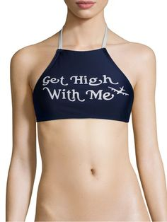 e760b9a5943db Get High with Me Bikini Top Navy Blue Halter  420  710  cannabis