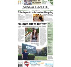 The front page of the Taunton Daily Gazette for Sunday, Sept. 20, 2015.
