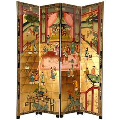 This room divider is a hand-painted masterpiece, with a beautiful Dream of the Red Chamber motif. Expertly crafted, this screen is made of hand-carved wooden frames.