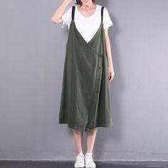 aec2dd6b73 2018 Celmia Women V Neck Spaghetti Straps Buttons Split Hem Retro Cotton  Linen Midi Dress Baggy Dungarees Vestido Plus Size