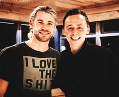 Tom Hiddleston and Chris Hemsworth are all smiles