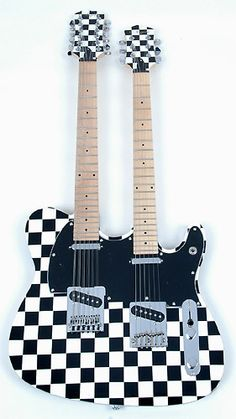 """FENDER Custom """"Telecaster"""" Double-Neck Solid-Body Electric Guitar in B&W Checker (unsure of year) Looks like a guitar that Cheap Trick's guitarist would own..."""