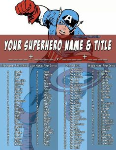 Superhero name and title generator. My kids thought this was hilarious!