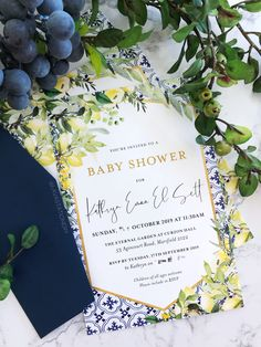 KATHRYN 💛 Beautiful Tuscan style invitations for a gender neutral baby shower. 👶🏻 Bright lemons amongst greenery, with a touch of gold. What a refreshing colour combo! Tuscan Wedding, Gender Neutral Baby Shower, Colour Combo, Touch Of Gold, Tuscan Style, Youre Invited, Baby Shower Invitations, Rsvp, Greenery