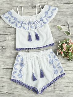 Shop Pom Pom Trim Embroidered Frill Top And Shorts Co-Ord online. SheIn offers Pom Pom Trim Embroidered Frill Top And Shorts Co-Ord & more to fit your fashionable needs. Cute Outfits For School, Cute Girl Outfits, Cute Summer Outfits, Outfits For Teens, Girls Fashion Clothes, Summer Fashion Outfits, Kids Fashion, Beach Shorts Outfit, Shorts Co Ord