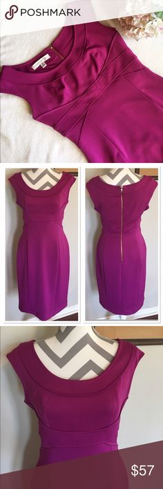 Purple Empire Waist Dress Gorgeous magenta color dress!! Zips up back. NWT. Size 10. Bust: 18 in. Length: 37 in. Hips: 17 in. Waist: 15 in. All measurements taken laying flat and are approximate. 93% polyester, 7% spandex. Fabric has stretch. Maggy London Dresses