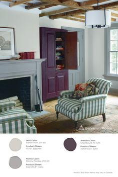 Rustic ambiance. #BenjaminMoore Barren Plain 2111-60 with Aura, eggshell finish (walls); Stormy Monday 2112-50 with ADVANCE, satin finish (mantle); and, Chambourd AF-645 with ADVANCE, satin finish (armoire).