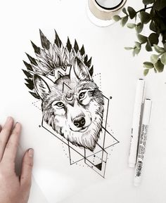 Wolf with a headress tattoo