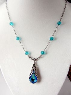 Blue Crystal Necklace Swarvoski Necklace made for Sarah Drew, by BlueSoulDesigns, $35.00