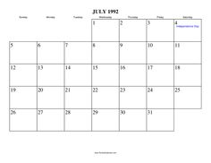 Free Printable Calendar For July 1992 View Online Or Print In PDF Format