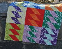 Baby Quilt PATTERN or Lap, Twin, Full/Queen, King Quilt.... Fat Quarters friendly, Kite Tails