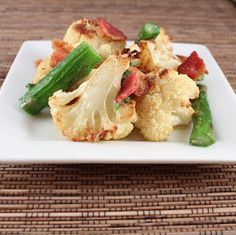 Roasted Cauliflower and Asparagus Salad with Warm Bacon Dressing (Low Carb and Gluten Free)